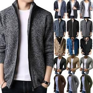 Mens Fleece Knitted Cardigan Sweater Thick Jacket Winter Knit Jumper Coats HOT