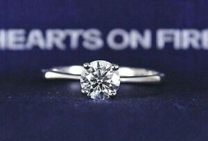$7100 AGS Hearts On Fire 18K White Gold .65ct Round Diamond Engagement Ring Band
