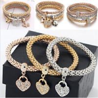 3 PCS/set Women Fashion Bracelet Rhinestone Bangle Charm Pendant Jewelry Gift