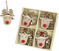 Set of 8 Festive Wooden Rudolf Reindeer Christmas Hanging Tree Decorations 5x6cm