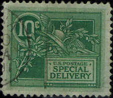 #E-7 1908 10 CENT SPECIAL DELIVERY ISSUE USED--VF/XF-VERY LITE HANDSTAMP CANCEL