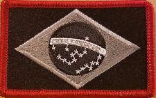 BRAZIL Flag Patch W/ VELCRO® Brand Fastener Morale Emblem RED Border