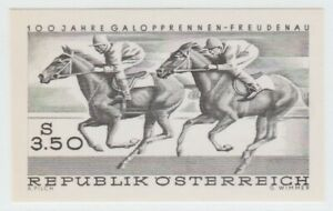 Austria 1968 POSTAL Proof Black Print Stamp 9-18-21- MNH Gum Horse- nice- imperf