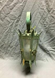 Antique Copper Porch Sconce Thick Heavy Hexagonal Glass Globe Old Light 936-21B