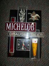 Vintage Michelob Light Beer Lighted Clock -Light Works - Clock Works !