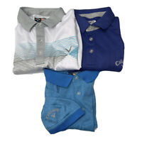 Callaway Polo Lot Of 3 Shirts Mens Size Medium M Short Sleeve Collared Blue Whit