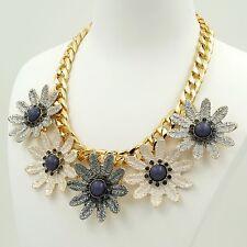 New Fashion 18K Gold GP Crystal Gray Flower Chain Bib Statement Necklace 04780