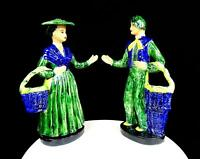 """HEDI SCHOOP SIGNED FRENCH MAN & WOMAN PEASANT COUPLE 13"""" VASE FIGURINES 1940's"""