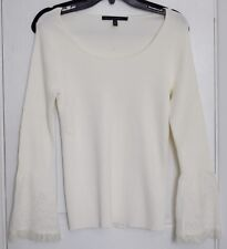 NEW WHBM White House Black Market ivory top lace bell sleeve women sz S M