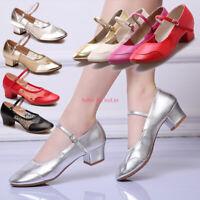 Womens Leather Jazz Latin Tango Dance Shoes Ballroom Salsa Heeled Dance Shoes