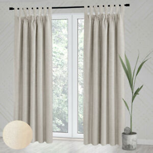 """Thermal Insulated bedroom Linen Look Blackout Curtains Tab Top 56x87"""" drop 1pair"""