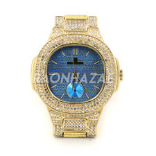 HIP HOP Iced RAONHAZAE ASAP ROCKY GOLD FINISHED LAB DIAMOND WATCH Y1