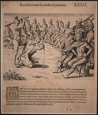 "Theodor De Bry Engraving after Le Moyne ""Native American, Timucua"" 1591 STUNNING"