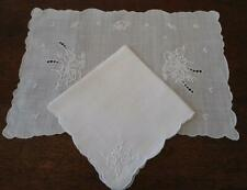 Vintage Set Pina Rice Linen Tray Doily Napkin Set White Embroidery Placemat