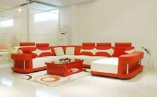 Ledersofa Polster Sitz Couch Garnitur Ecksofa Sofa Couch Wohnlandschaft  Wies01