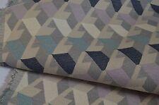 designer upholstery fabric grey blue beige lilac M & S miro clearance geometric