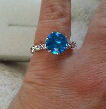Artisan's Sz 9 London Blue Topaz & Cz's  Ring Sterling silver $58.79 New