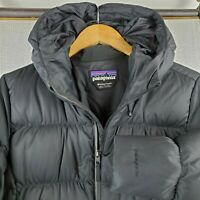 PATAGONIA Downtown Parka Medium Womens 600 Duck Down Filled Black Hood Coat $379
