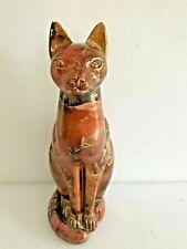 statuette contemporaine en plâtre peint d'un chat création Sylvie Montagnon