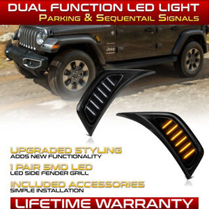 Fender Air Vent Smoked Sequential LED Side Marker Lamp For 2018-2021 Wrangler