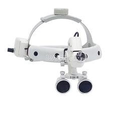 Dental Surgical Medical Headband Binocular Loupes with LED Light 3.5X-R White