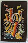 "Vintage MCM Batik mid century BOHO picture fabric wall art signature 16""x10"""