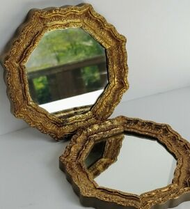 """Vintage Gold Ornate Octagon Wall Mirror Set of 2 6 1/2"""" Hollywood Regency Style"""
