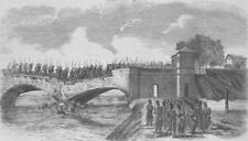 ITALY. French troops crossing bridge of Buffalora, antique print, 1859