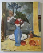 Mid Century Signed Floral Still Life Oil Painting in Style of Cezanne