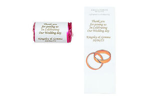 100 Personalised wedding Favours Love heart sweets with personal wrapper