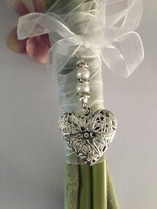 Pretty Wedding Bouquet Memory Locket Charm/gift, Keepsake, Memorial...gift Boxed
