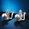 Fashion Women Cute 925 Silver Plated Crystal Pearl Ear Stud Earrings Jewelry