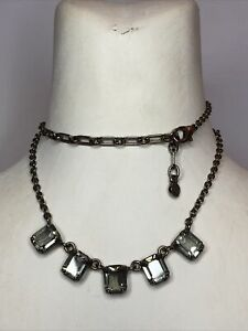 Nereides Glass Necklace French Paris Bezel Set Smoke Faceted Lobster Clasp
