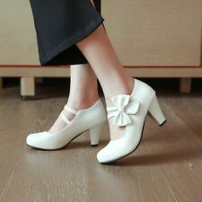 Cute Bowknot Pumps Womens Round Toes Kitten Block Heels Sweet Mary Janes Casual