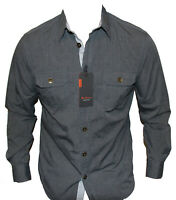 New Ben Sherman Mens Casual Shirt in Charcoal Colour Size S Easy Fit