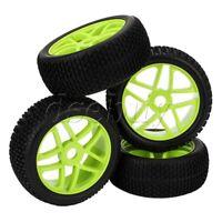 4PCS Green 17mm Hex RC 1:8 Off-road Car Star Wheel Hub Rim T Shape Pattern Tires