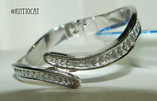 Monet Silvertone Hinged Bracelet With Diamond Cut Scallops Brilliant Finish