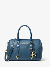 NWT Michael Kors DK Chambray Blue Bedford Legacy Leather Duffel Satchel Bag-New