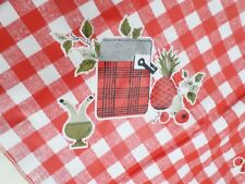 Vintage Vinyl Red Checked Picnic Food & Baskets Print Table Runner Tablecloth