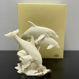 """Lenox Dolphins Between Sea and Sky Dolphin on Wave Ivory China Sculpture MIB 7"""""""