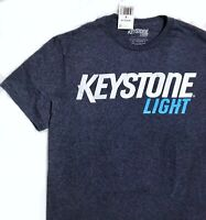 New$20 KEYSTONE LIGHT T-SHIRT beer advertising heather navy blue retro MEN SMALL
