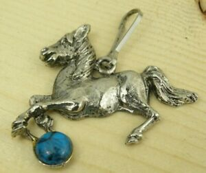 Vintage Horse Keychain Silver Tone Metal Faux Turquoise Bead Clip Signed C