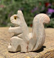 Steatite Stone Carved Squirrel Chakra Crystal Healing Spirit Animal Carving 1.5""