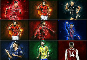 Football Star Players poster Print Image Neymar Ronaldo Messi Mbappe Hazard A4