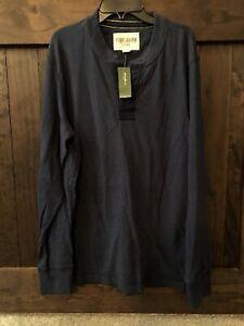 NWT Eddie Bauer Henley Shirt Size Medium Mens Navy