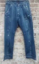 ENERGIE BLUE DISTRESSED LOOSE RELAXED CARGO CARPENTER STYLE JEANS W32 L34