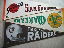 Vintage 1960's-70's Sports Pennants. SF Giants / Oakland A's / Raiders. 1 EACH