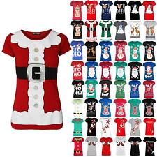 Womens Ladies Cap Sleeve Santa Claus Costume Christmas Belted Print Xmas T Shirt