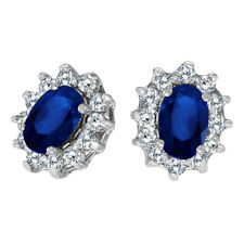 14k Yellow Gold Oval Sapphire and .25 Total Ct Diamond Earrings