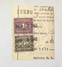 2 US Consular Stamps On Visa Fragment